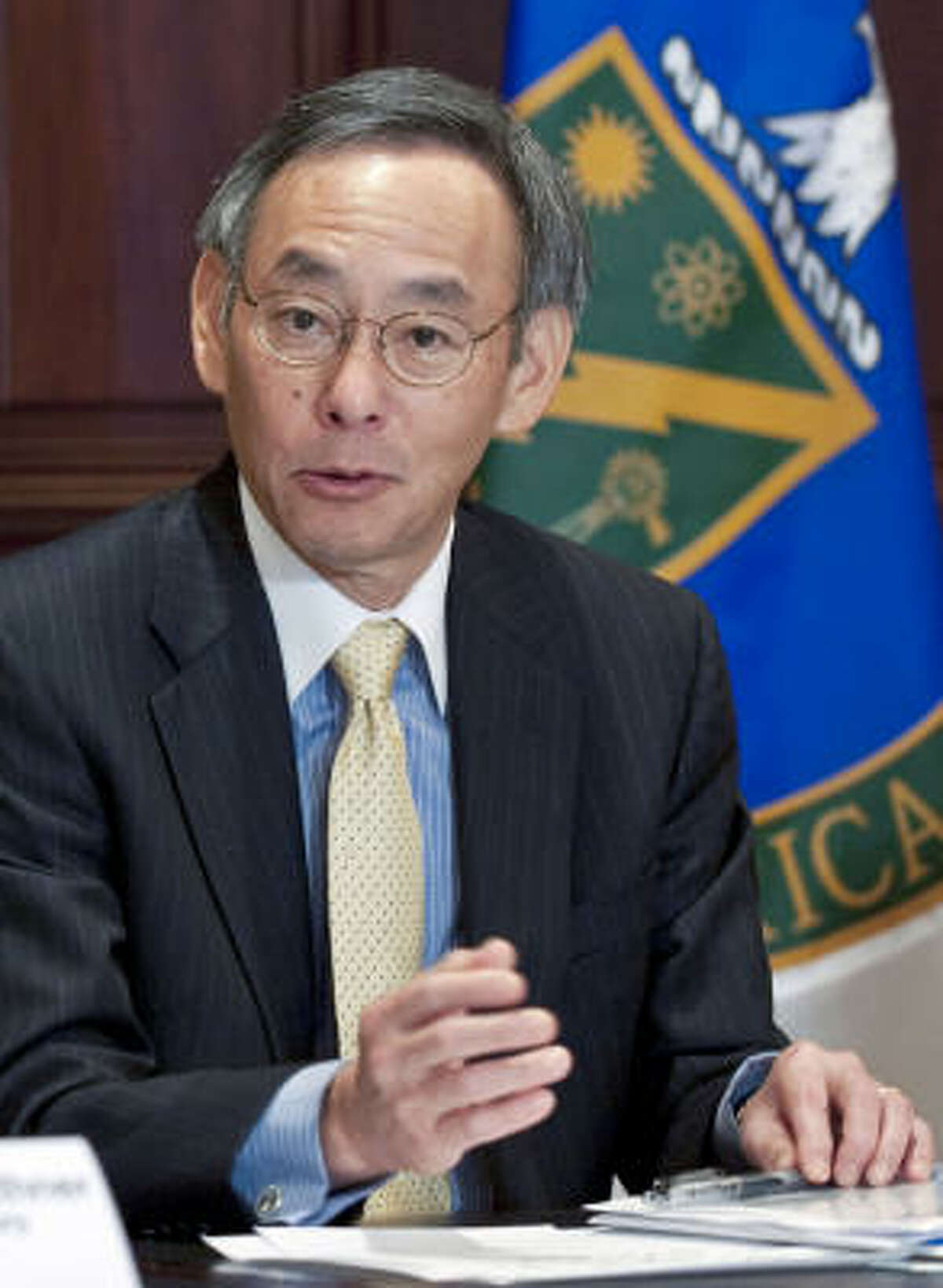 Steven Chu, U.S. energy secretary, announces cash awards for renewable energy projects at the Eisenhower Executive Office Building in Washington on Tuesday.