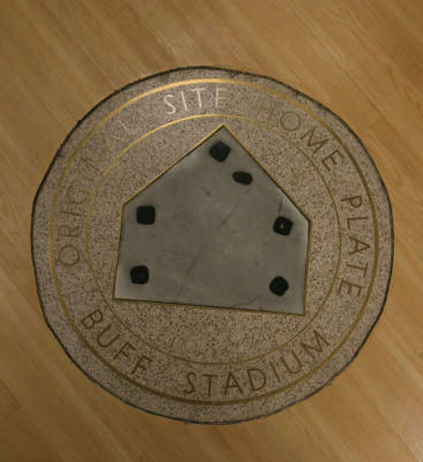 A plaque marking home plate at Buff Stadium remains at the now-closed Houston baseball museum. Photo: Gary Fountain, For The Chronicle