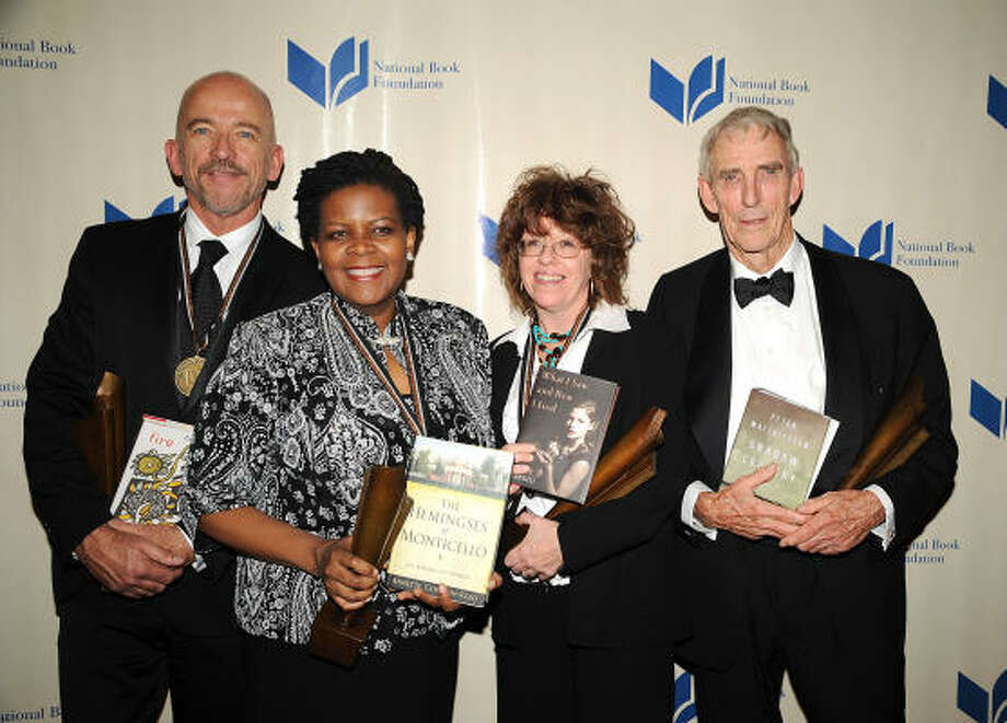 Annette Gordon-Reed, who grew up in Conroe, joins other National book award winners University of Houston professor Mark Doty, from left, Judy Blundell and Peter Matthiessen. Photo: Robin Platzer, Associated Press