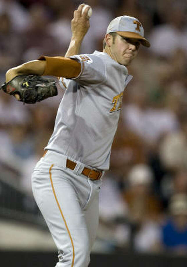 Texas pitcher Austin Wood threw 169 pitches and struck out 14 in 13 relief innings against Boston College. Photo: Matt Hempel, AP