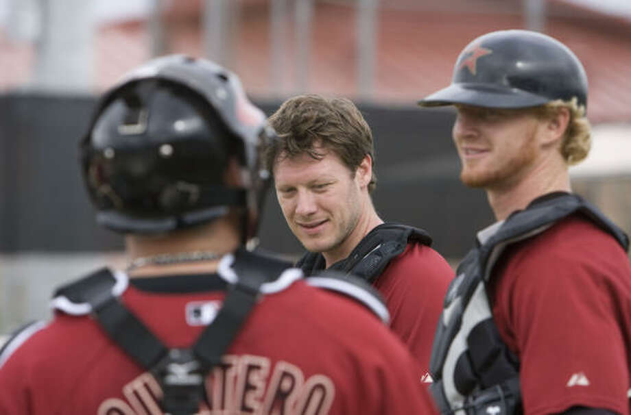 Astros candidates for playing time at catcher include, from left, Humberto Quintero, Lou Santangelo and J.R. Towles. Lou Palmisano and Toby Hall also figure to be in the mix during the spring. Photo: James Nielsen, Chronicle