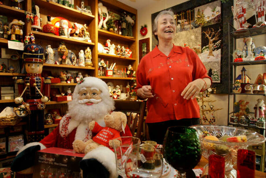 Lawyer Dalia Stokes said the downstairs area of her law office was a law library before it became a Christmas-themed shop. Photo: Melissa Phillip, Chronicle