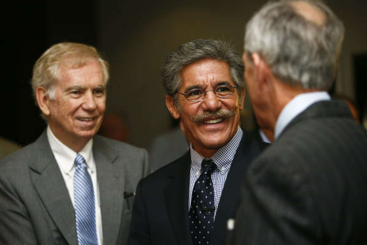 "Geraldo Rivera, center, was a speaker at the Greater Houston Partnership luncheon Tuesday. He said the immigration debate's tone has created a ""slanderous condition"" in the U.S."