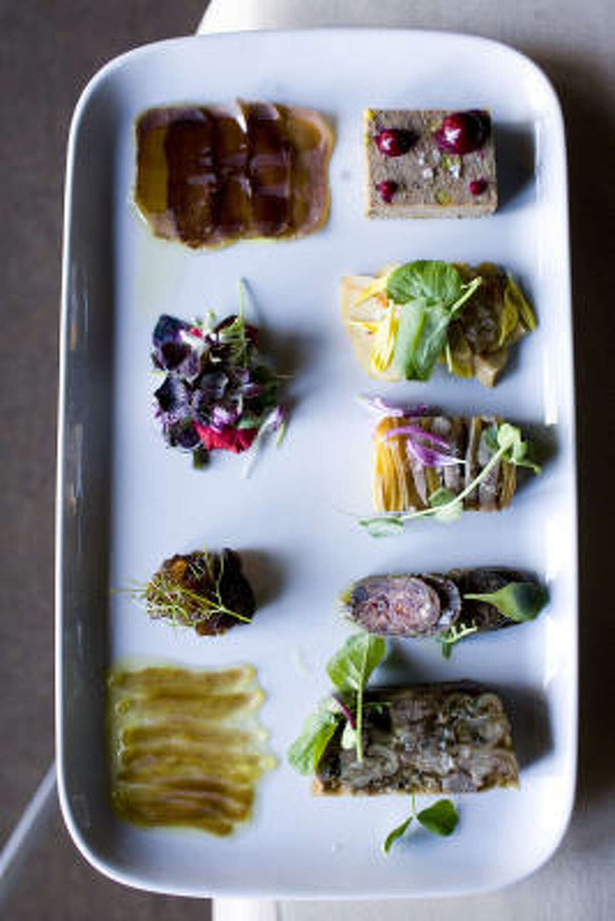 A charcuterie plate at Rainbow Lodge contains assorted tastes gathered by chef Randy Rucker.