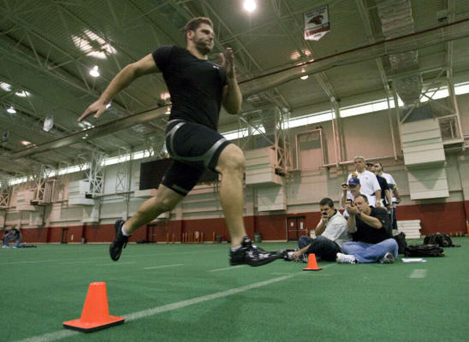 One scout clocked offensive lineman Sebastian Vollmer at 5.08 seconds in the 40-yard dash. Photo: Brett Coomer, Chronicle
