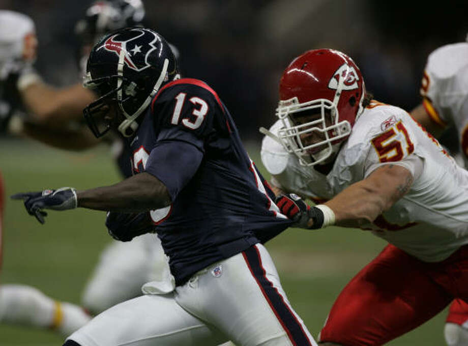 Once a Chiefs linebacker, Boomer Grigsby hopes to fill the Texans' backup fullback spot. Photo: BRETT COOMER, HOUSTON CHRONICLE