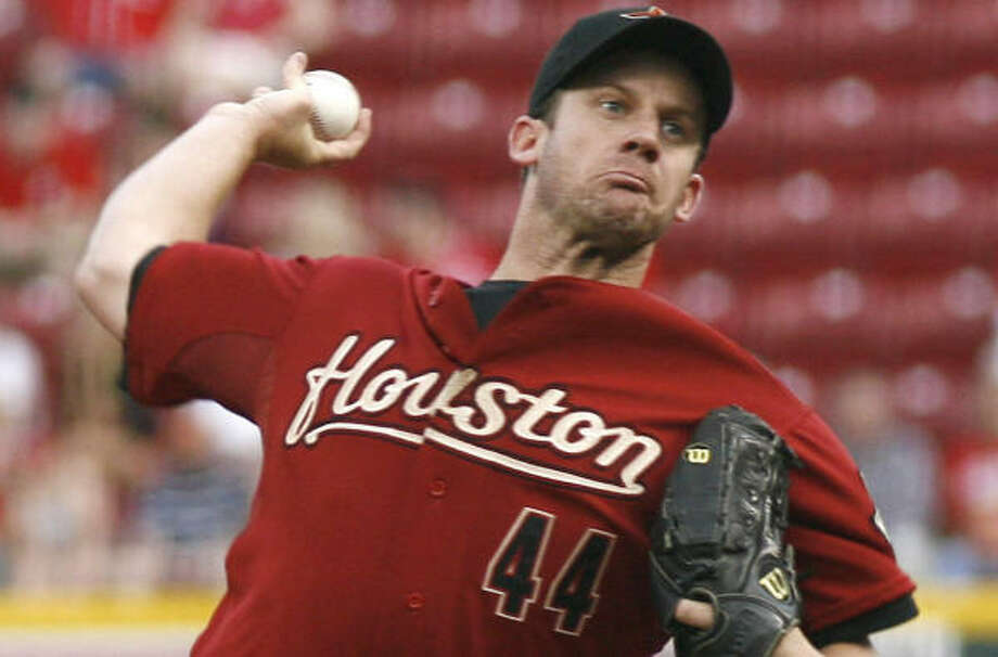 Roy Oswalt held the Reds to one run in seven innings, but didn't figure in the decision in the Astros' win. Photo: David Kohl, AP