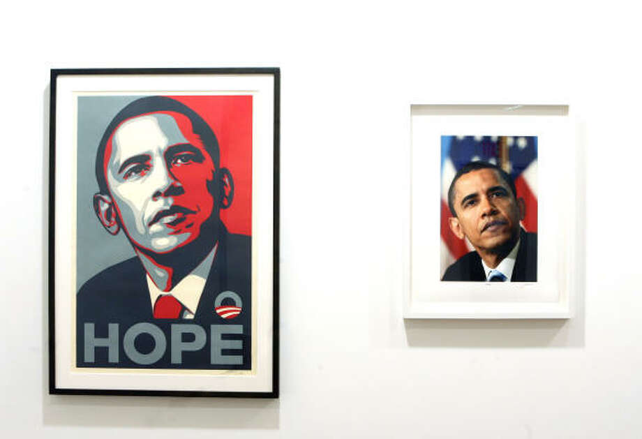 "Shepard Fairey's Hope poster is mounted beside photographer Mannie Garcia's photo at a gallery in the Chelsea neighborhood of Manhattan. The Museum of Fine Arts, Houston recently purchased a print of Garcia's photo. Anne Wilkes Tucker, curator of photography at the MFAH, asked, ""Would we have collected Mannie's photograph by itself without the Fairey poster? I don't know."" Photo: SARA KRULWICH, NEW YORK TIMES"