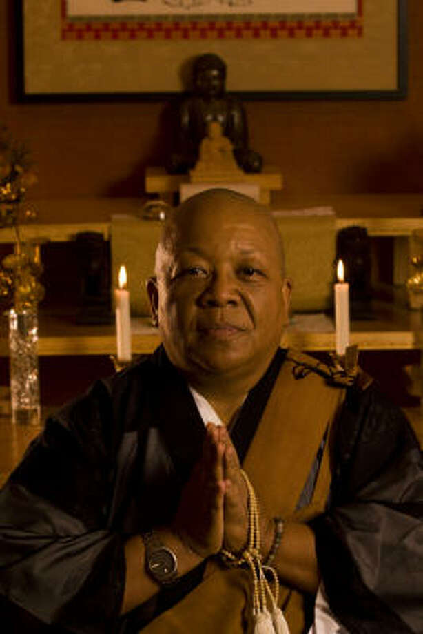 Rev. Myokei Caine-Barrett is the only woman in North America to lead a Nichiren Shu Buddhist congregation. Photo: Eric Kayne, For The Chronicle
