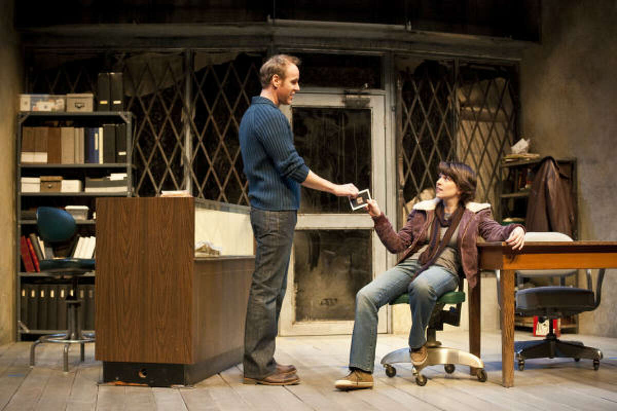 Chris Hutchison, left, as Dennis and Elizabeth Bunch as Jackie practice a scene, Friday, April 2, 2009, during a rehearsal of Theresa Rebeck's play