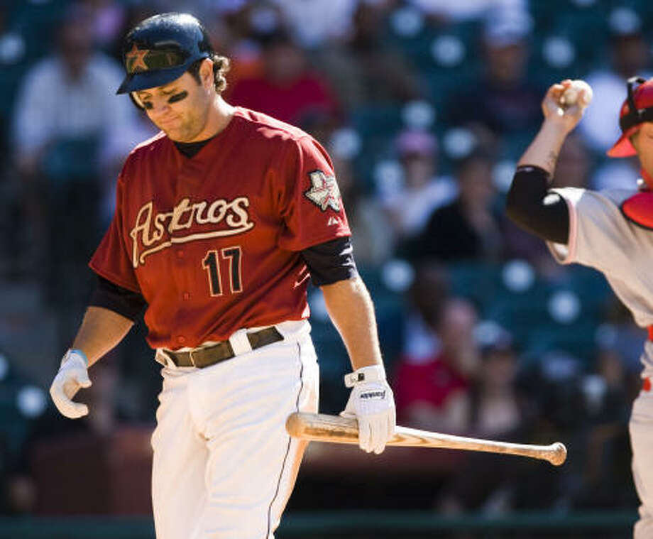 Astros first baseman Lance Berkman was dropped to fifth in the batting order Friday before a wrist injury held him out of the game. Photo: Brett Coomer, Houston Chronicle