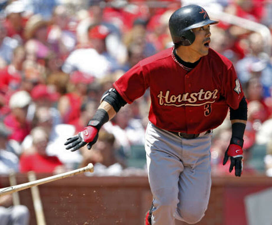 Second baseman Kaz Matsui watches his double in the fourth inning against the St. Louis Cardinals. Photo: Tom Gannam, AP