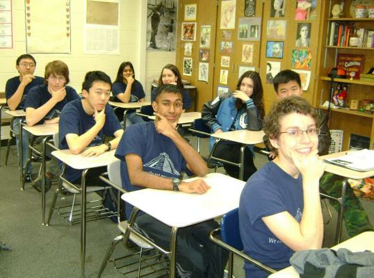 Clements High School Decathletes are, left row, from front: Mark Goldman, Andrew Badachhape, Hal Zhang, Keith Wedelich and Richard Im; right row, from front: Thomas Vien, Anna Tkabladze, Minna Nashef and Asma Modi.
