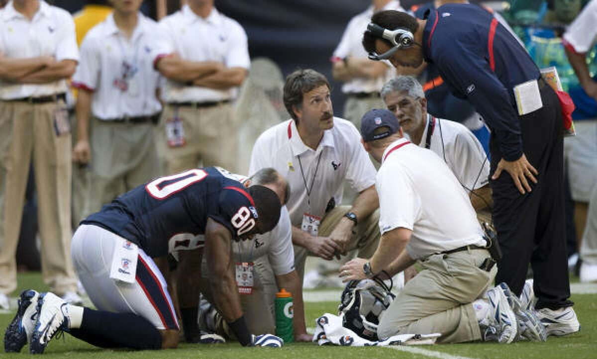 Texans wide receiver Andre Johnson left Sunday's game in the fourth quarter with a chest injury.