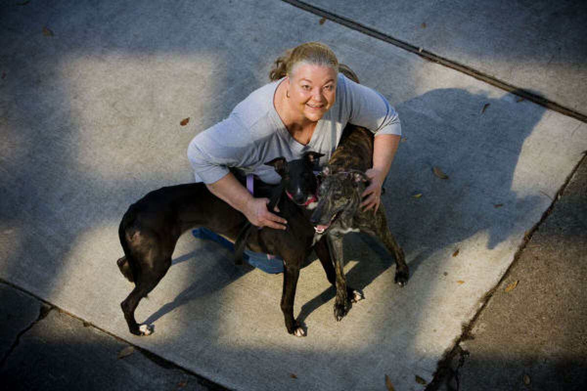 Catherine Coulter, with Shooter, left, and Stinger, has been unable to transfer money from investment savings accounts at Stanford to the checking account of Greyhound Pets of America Houston.