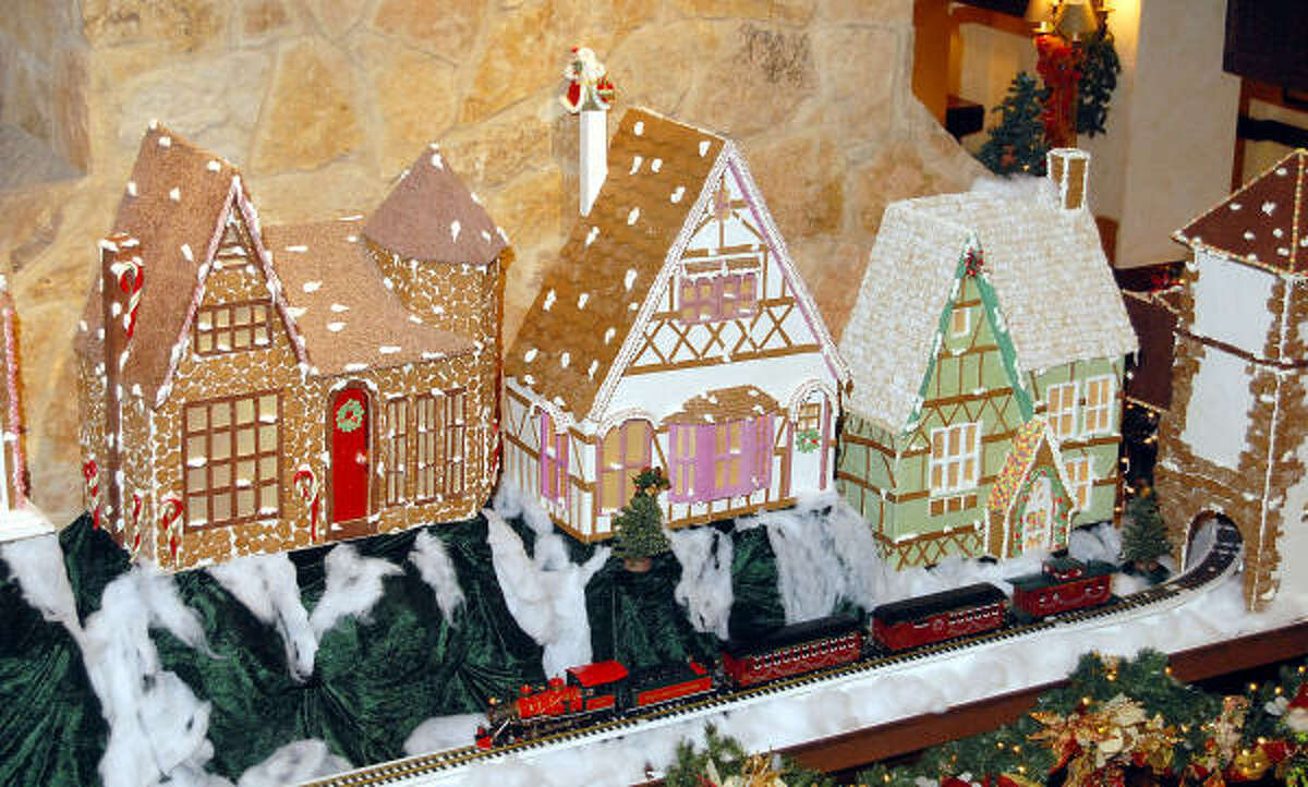 Mantle material: Just in time for the holidays, the gingerbread village sits on the oversized mantle at the Houstonian Hotel. It took the hotel's engineering team approximately 500 hours to build the village.