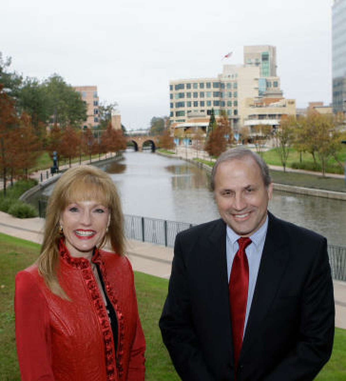 Nelda Blair serves as chairwoman and Don Norrell is president of The Woodlands Township. Her position is comparable to a mayor and his to a city manager.