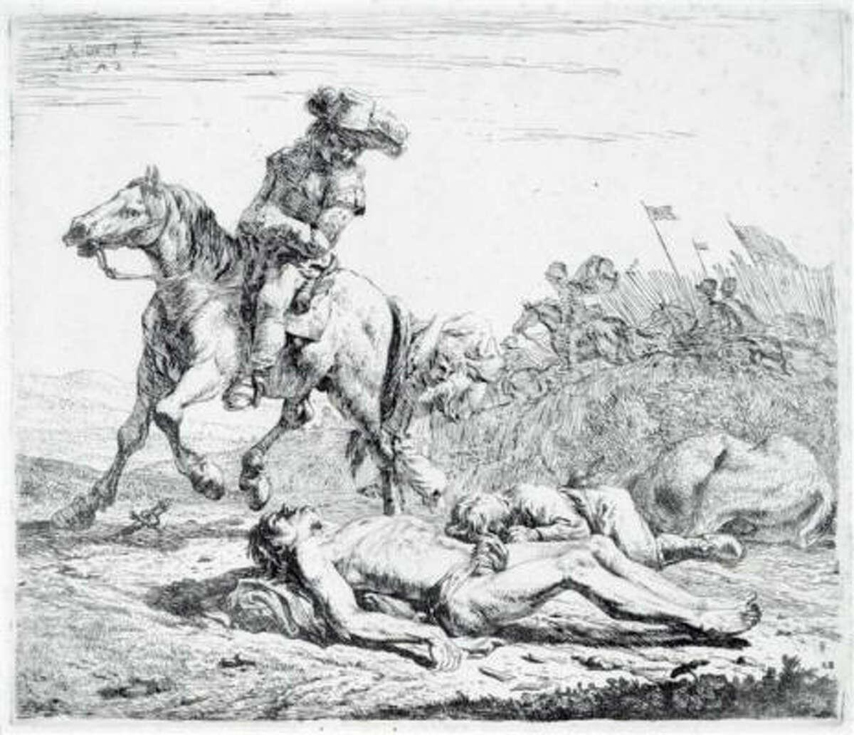 Dutch artist Karel Dujardin's etching The Battlefield draws its power from the sight of a war casualty.