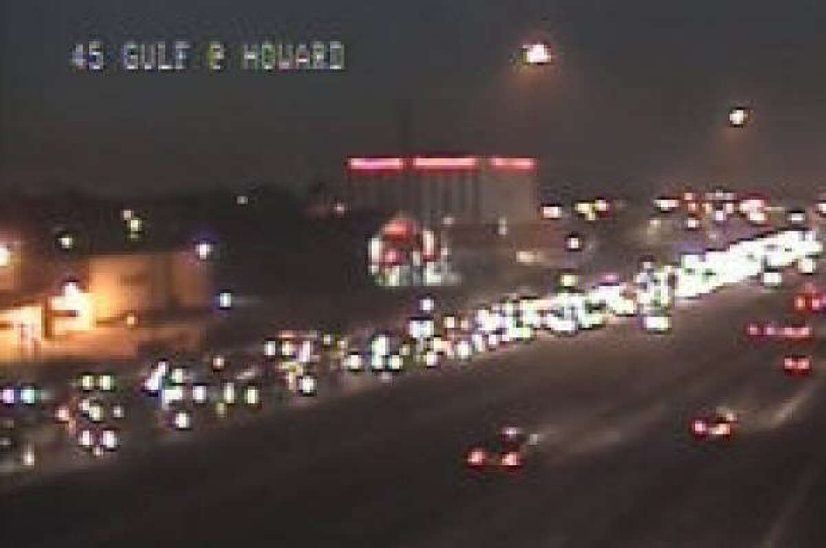 Three left lanes of the Gulf Freeway northbound near Broadway and Park Place were closed this morning by a major wreck, causing a long backup.