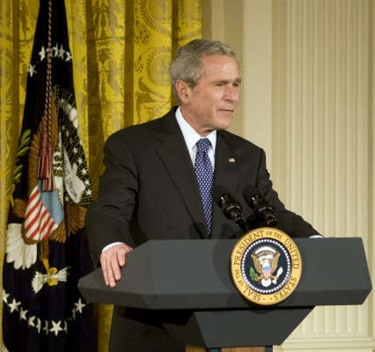 President George W. Bush is shown speaking Jan. 7, 2009, in the East Room of the White House.