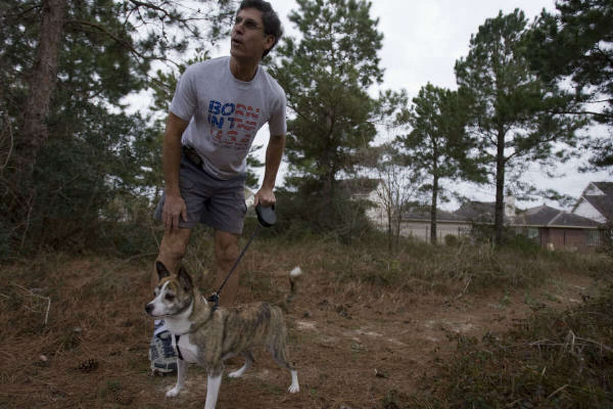 Gordon Haisler walks his dog Lucky in the area where he saw a bobcat recently in the Bayou Crossing neighborhood.