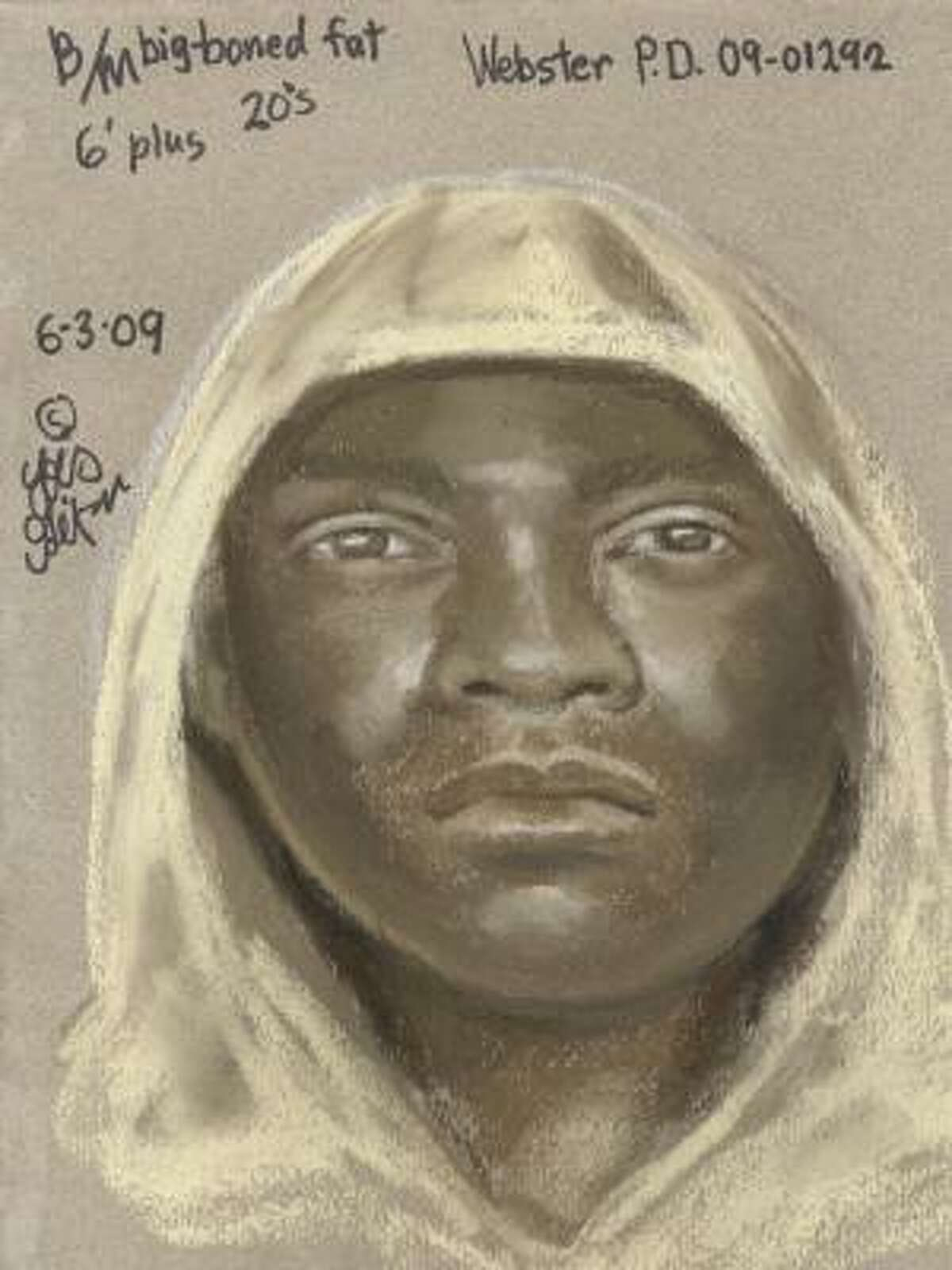 This is a sketch of one of the suspects in a May 24 home robbery in Webster in which the victims were hog-tied.