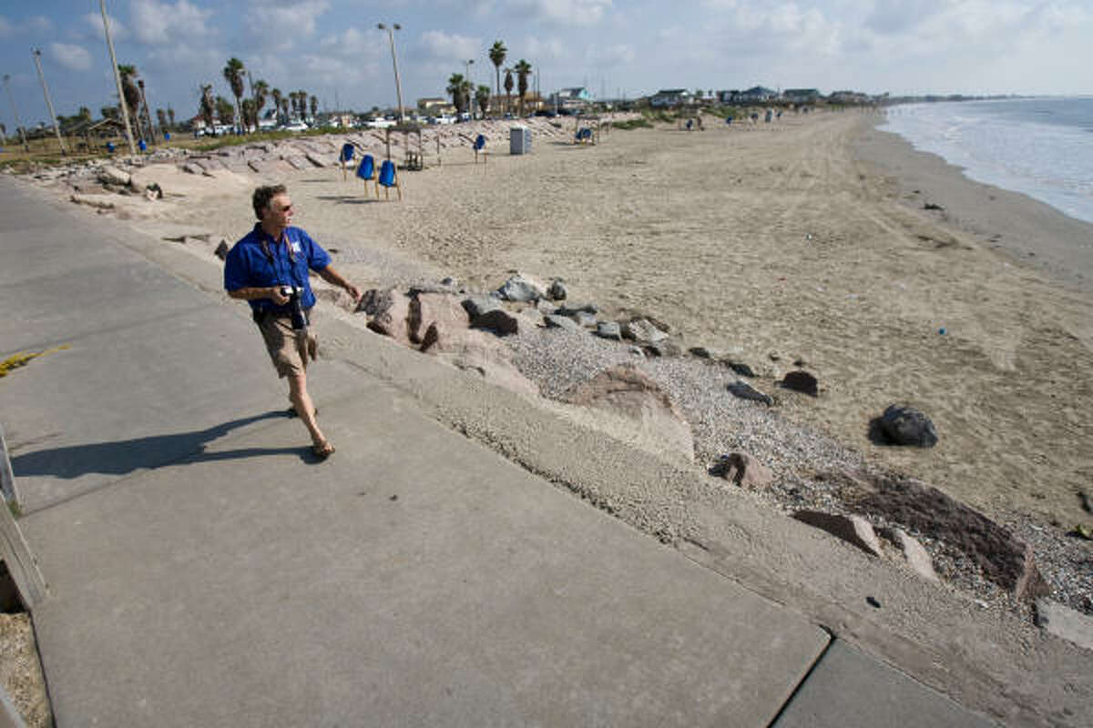On his regular visits to Surfside Beach, longtime surfer Ellis Pickett has seen and photographed many changes. He recently noticed that the shoreline's profile is steeper and the waters of the Gulf are deeper than before.