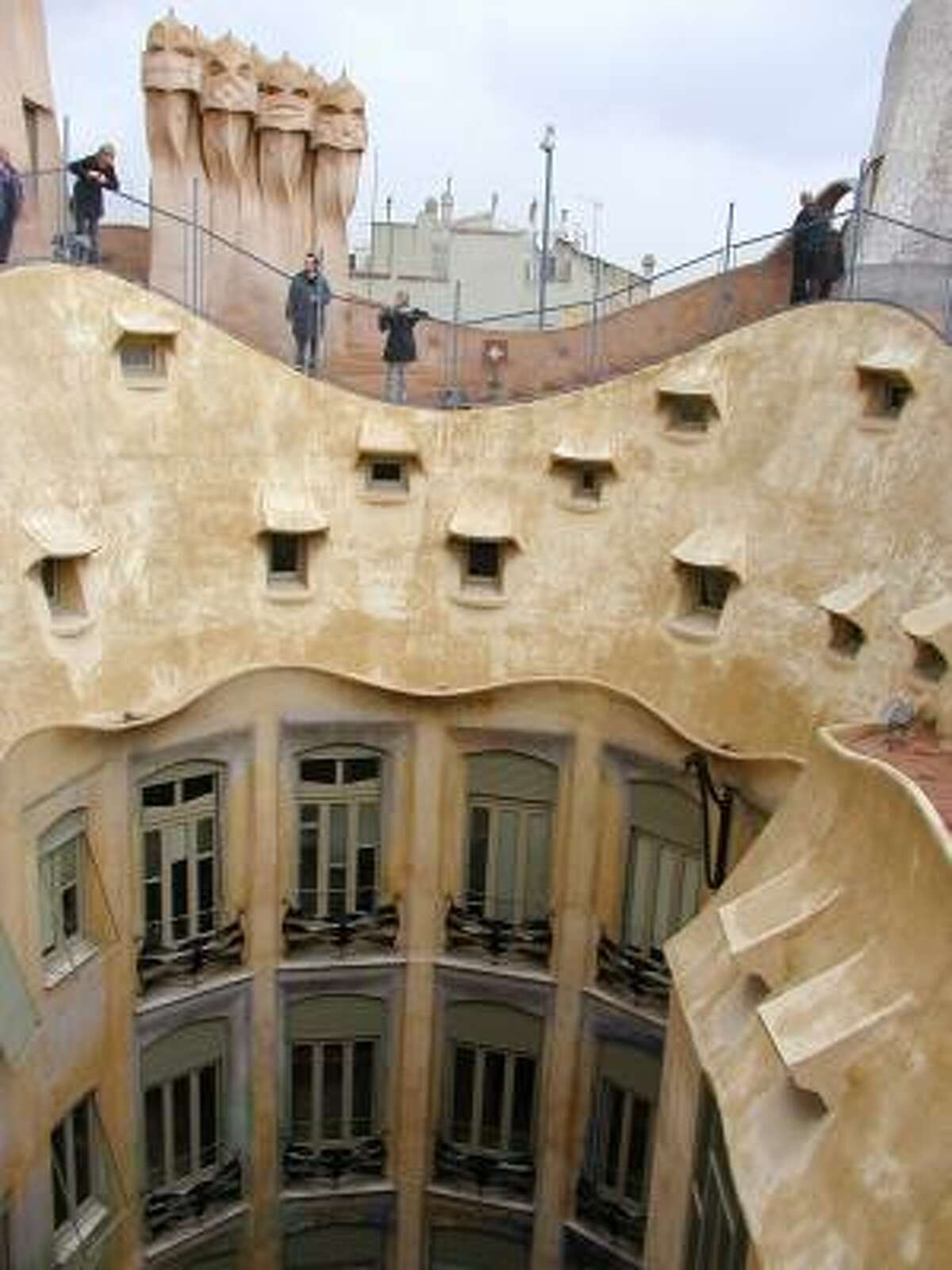 La Pedrera, a Barcelona, Spain, apartment house designed by Antonio Gaudi, is one of his signature works.