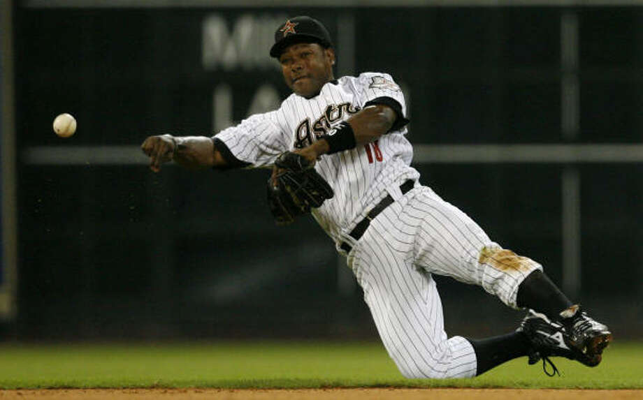 Miguel Tejada said he is willing to move from shortstop to third base. Photo: Julio Cortez, Chronicle