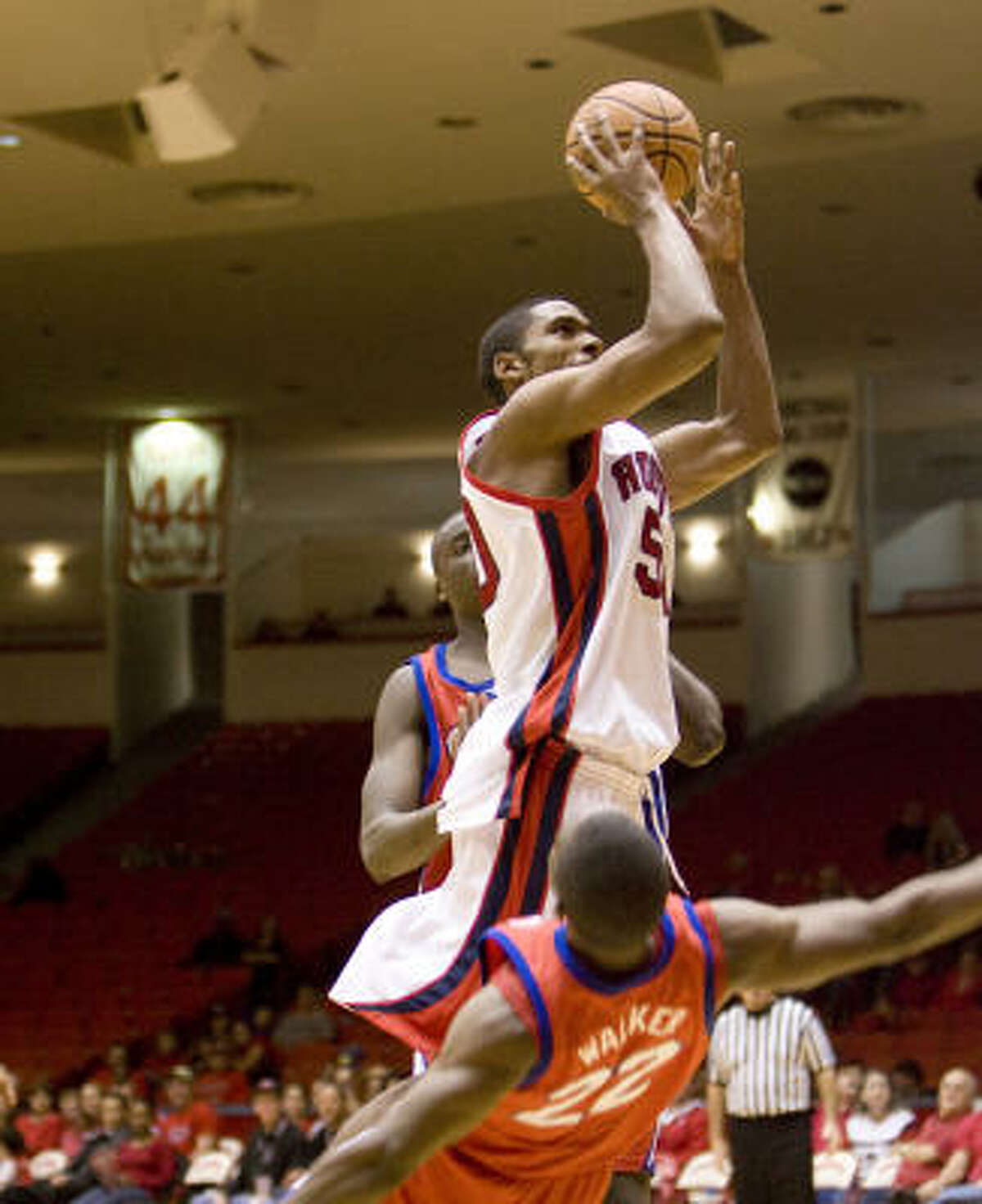 Houston center Marcus Cousin (shown last season) had 14 points and 10 rebounds against Texas A&M-Corpus Christi.