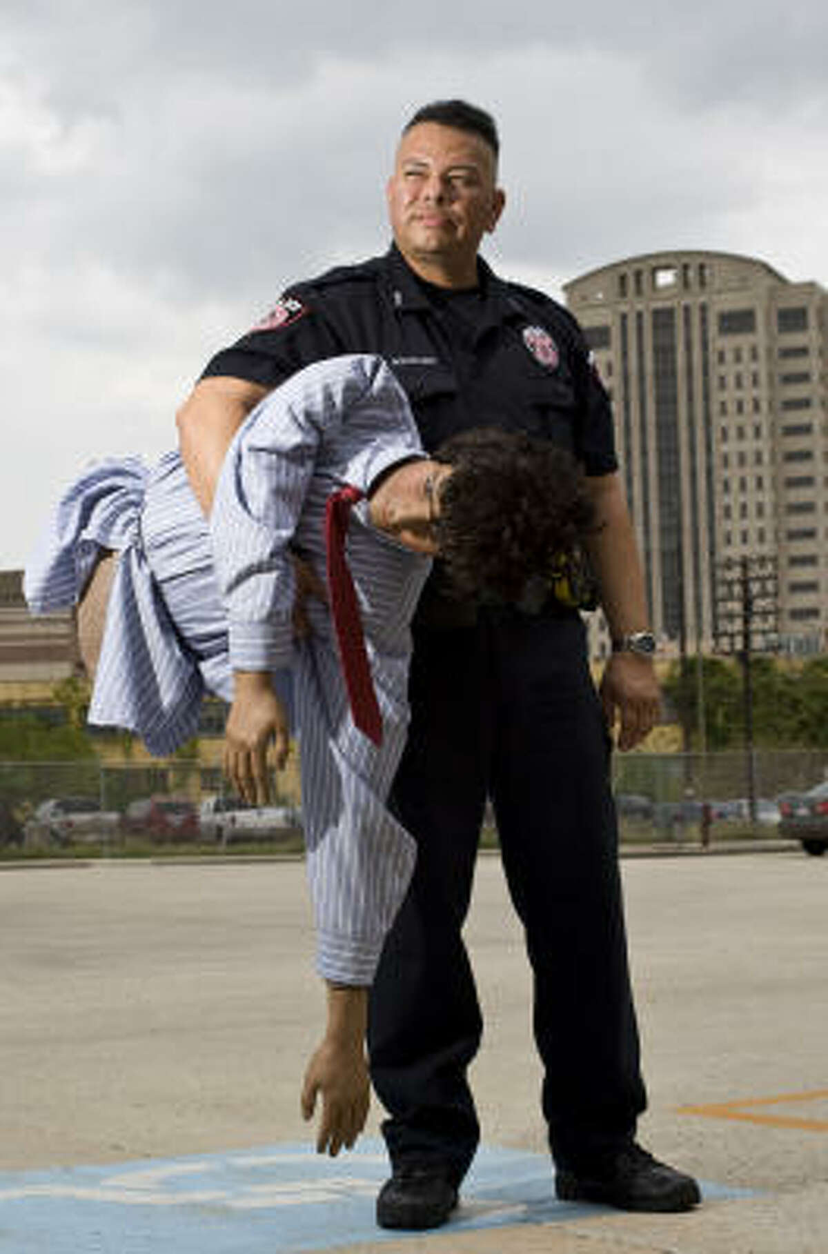Metro police Officer Miguel Rodriguez, who confiscated the dummy after the accident on Thursday, said he was startled to find it and initially thought it was an injured person.