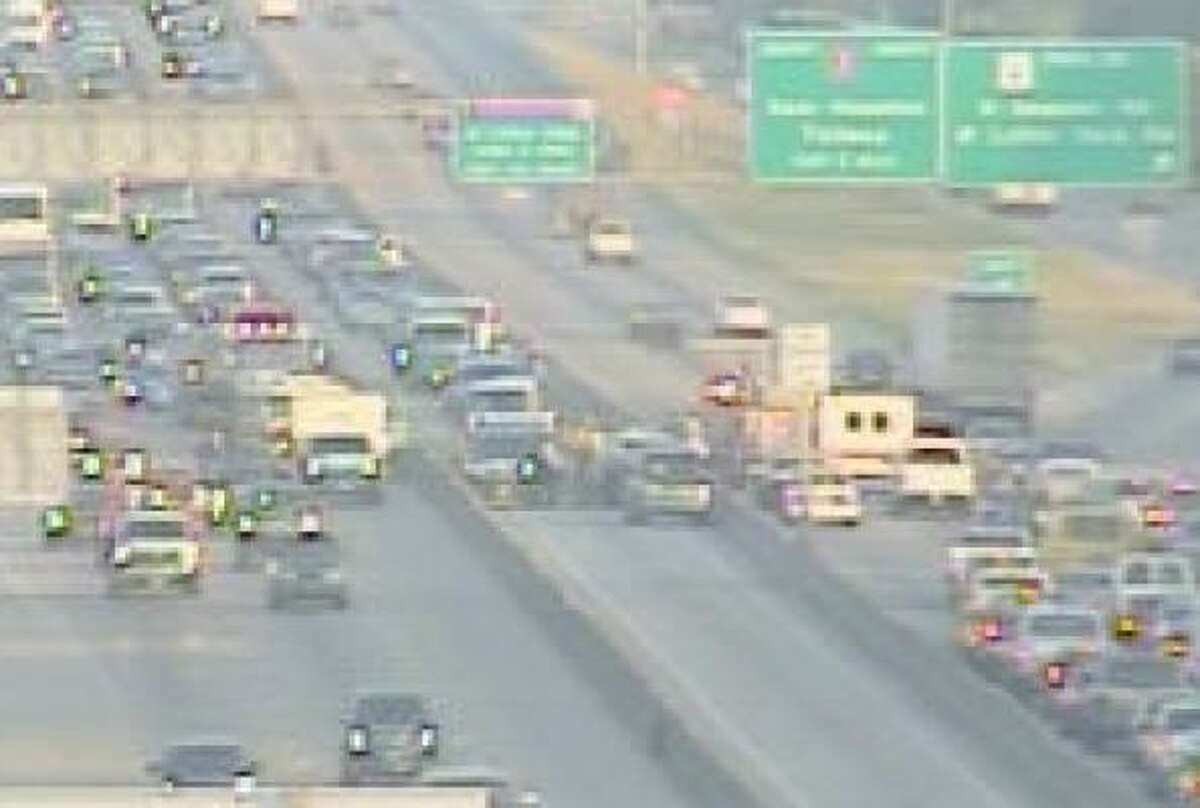 U.S. 290 was a mess this morning because of three separate wrecks, including one that blocked the HOV lane.