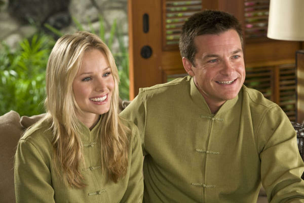 Kristen Bell and Jason Bateman star as Cynthia and Jason in Couples Retreat, a comedy about four Midwestern couples who embark on a journey to a tropical island resort.
