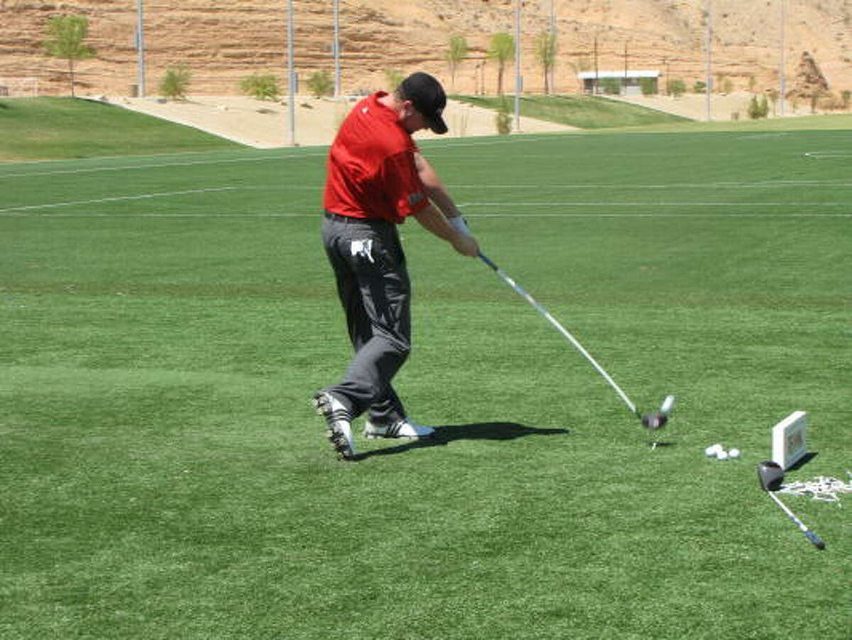 Long-drive specialist Bobby Bradley tries out the Rage driver.