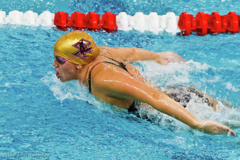 The Boston College Womenís Swimming and Diving Team was named to the College Swim Coaches Association of America Academic All-America Team. The Eagles were lead by team captain Megan Tincher of Greenwich, who had a 4.0 for her final semester here at BC. Tincher was also recognized as the graduating student-athlete with the highest GPA in all 17 of BCís womenís varsity sports. Photo: John N. MacKay/Boston College/Co