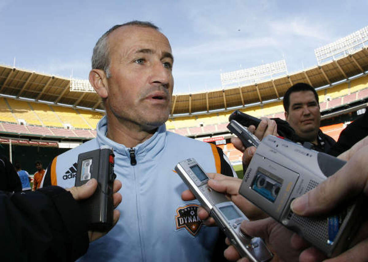 Dynamo head coach Dominic Kinnear, still serving a suspension, was not at the game.