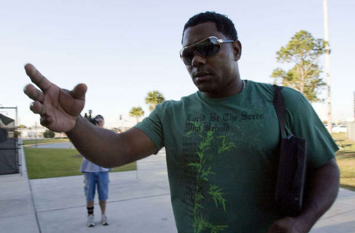 Shortstop Miguel Tejada arrives for the Astros spring training at Osceola County Stadium.