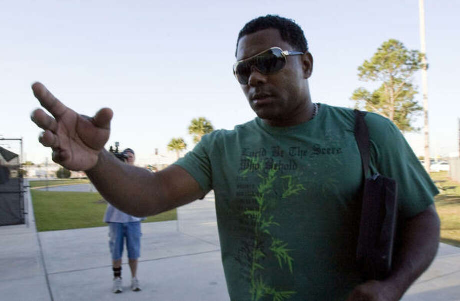 Shortstop Miguel Tejada arrives for the Astros spring training at Osceola County Stadium. Photo: James Nielsen, Chronicle