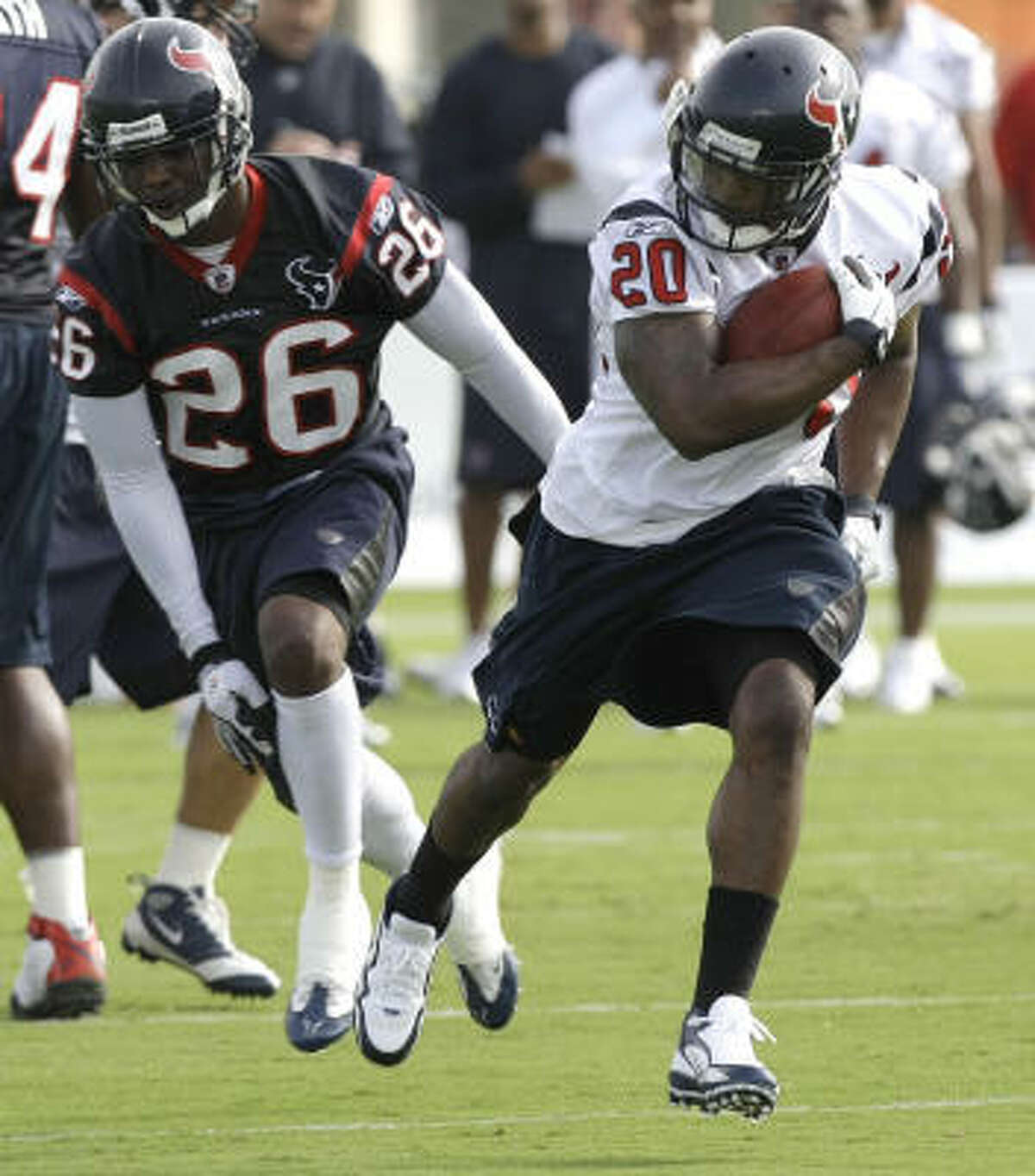 Veterans Chris Brown and Ryan Moats and rookies Arian Foster and Jeremiah Johnson are competing for the backup job behind Steve Slaton (above).