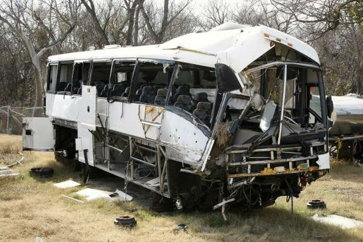 What was left of the bus sat at a city lot in Sherman in December, four months after the Aug. 8, 2008, crash.
