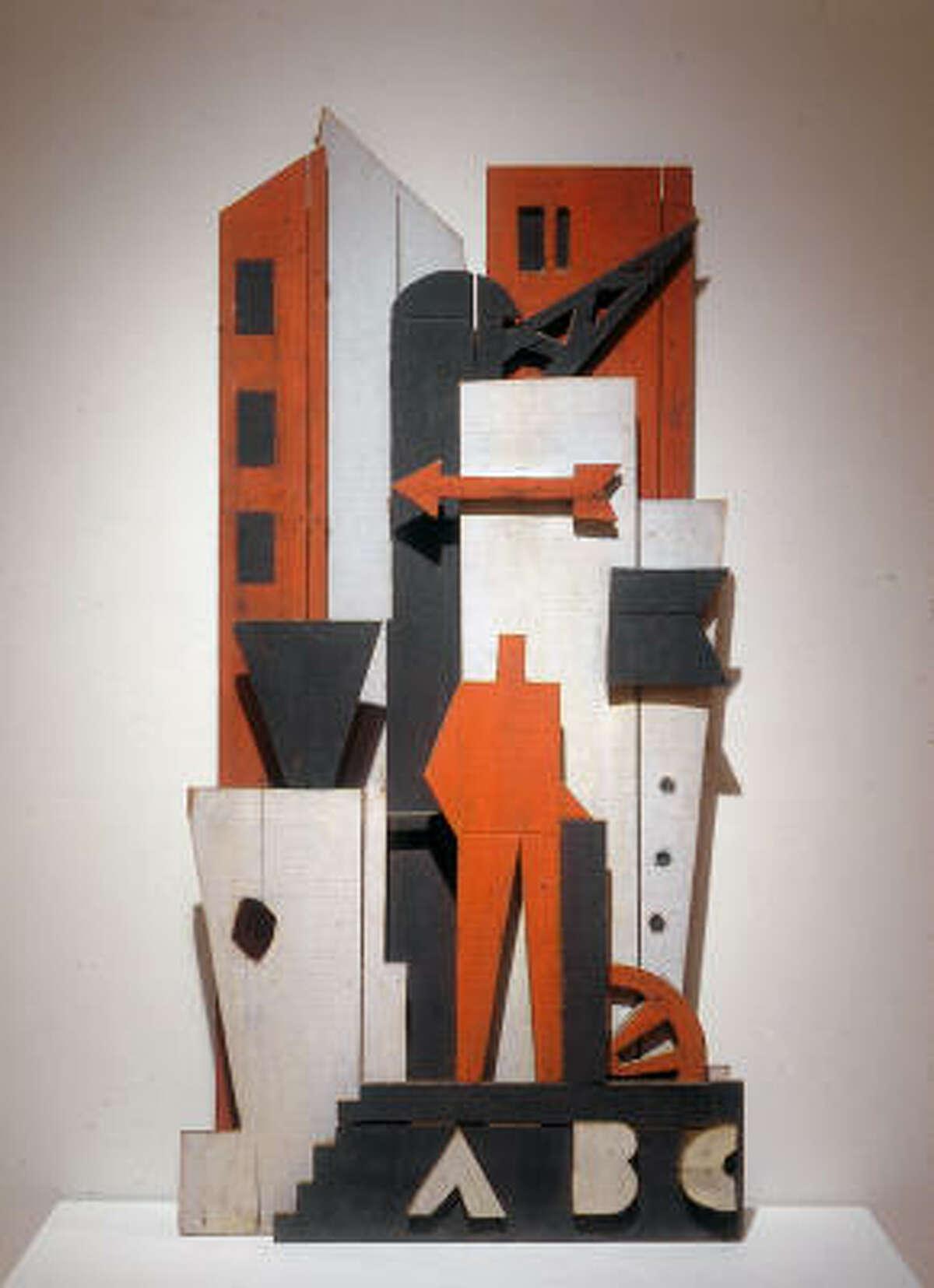 Julio Alpuy's Construccion con hombre rojo (1945) was created and displayed at the Taller Torres-García in Montevideo, Uruguay.