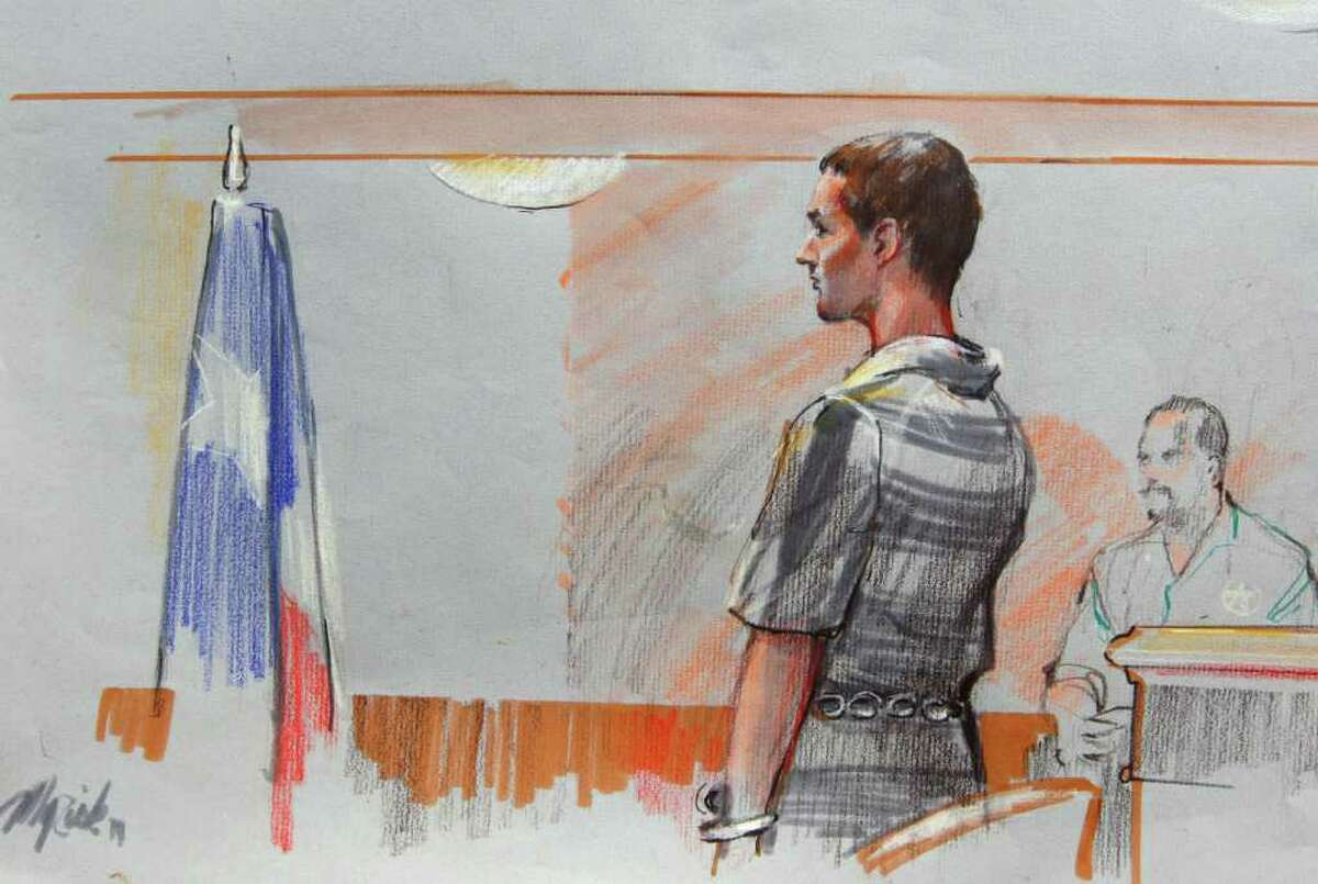 In this courtroom sketch, AWOL soldier Pfc. Naser Jason Abdo is shown in federal court, Thursday, Aug. 4, 2011, in Waco, Texas. (AP Photo/Gary Myrick)
