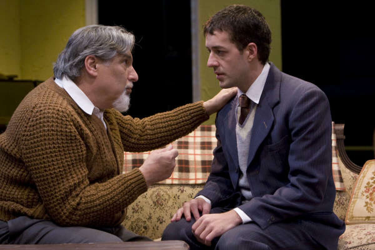 Jacob (Steve Garfinkel), left, and Ralph Berger (Charles Swan) are part of a Jewish family struggling during the Great Depression in Clifford Odets' Awake and Sing!, Main Street Theater's new production.