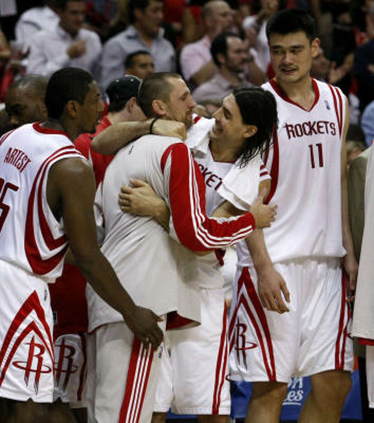 The euphoria of the first-round win over Portland may still be on the minds of Rockets players, from left, Ron Artest, Brent Barry, Luis Scola and Yao Ming, but they know they have their work cut out for them starting Monday in Los Angeles.