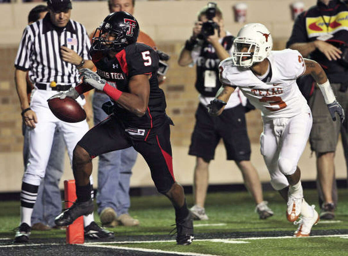 Texas Tech defeated Texas 39-33 on Michael Crabtree's game-winning touchdown catch last year.