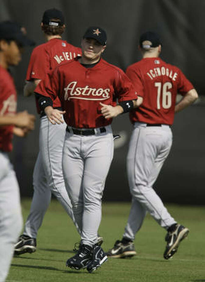 After bouncing between catcher and third base in his first years in the organization, Koby Clemens (center) has now played his first 10 games in left field, and first base is also an option. Photo: Karen Warren, Houston Chronicle