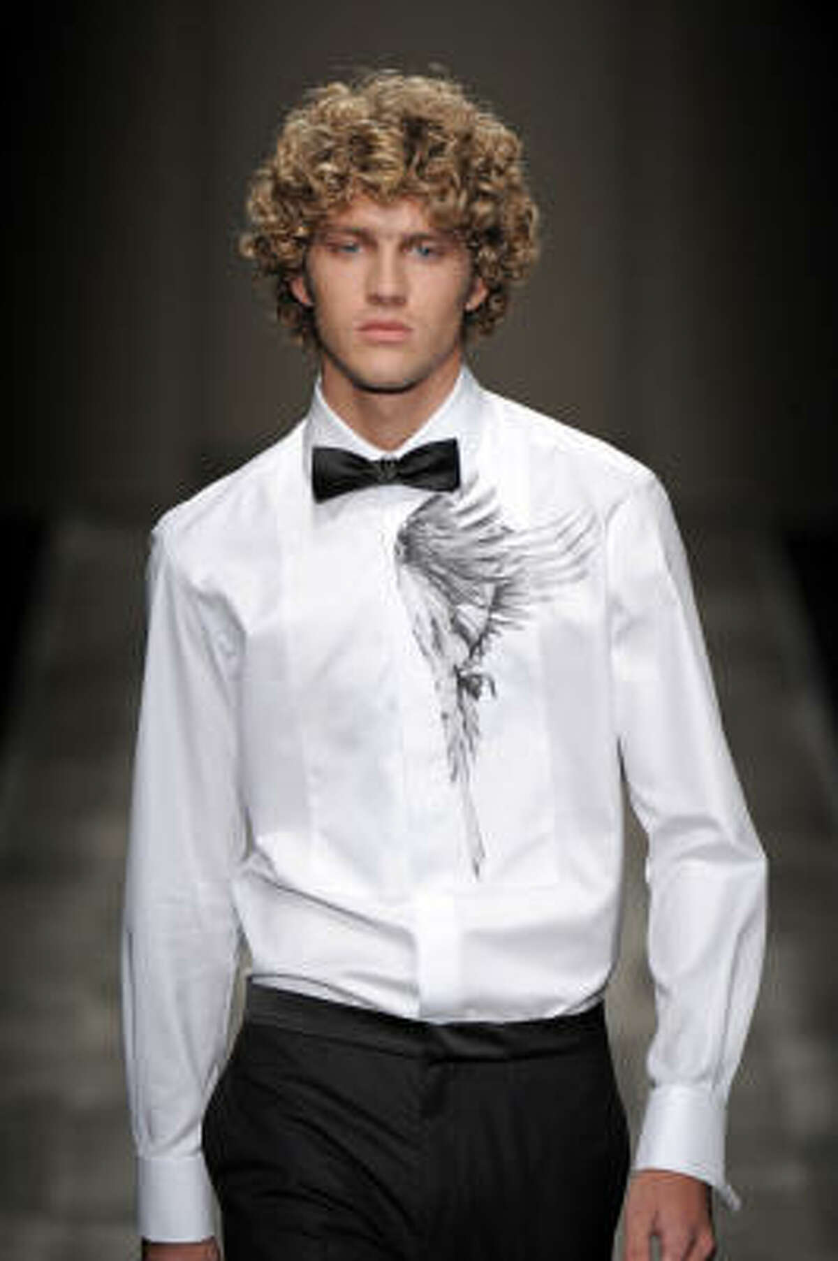 Trussardi's fall 2009 collection features a thinner bow tie.