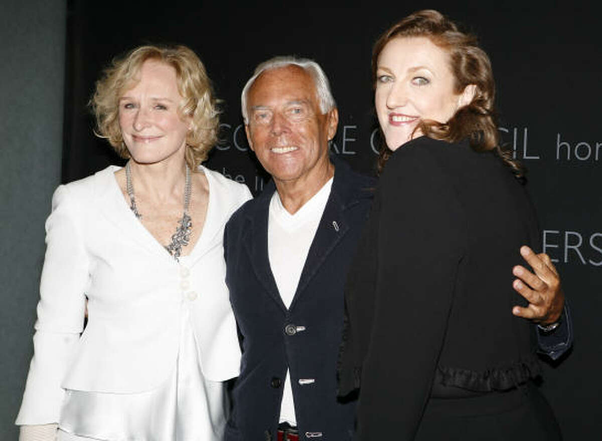 Harper's Bazaar editor in chief Glenda Bailey, top right, and Glenn Close honored Giorgio Armani at a luncheon at the Hearst Tower last year. At last fall's Dior fashion show in Paris, Bailey sat next to good friends Trudie Styler and Sting. The singer performed at Bailey's magazine launch party in 2002.