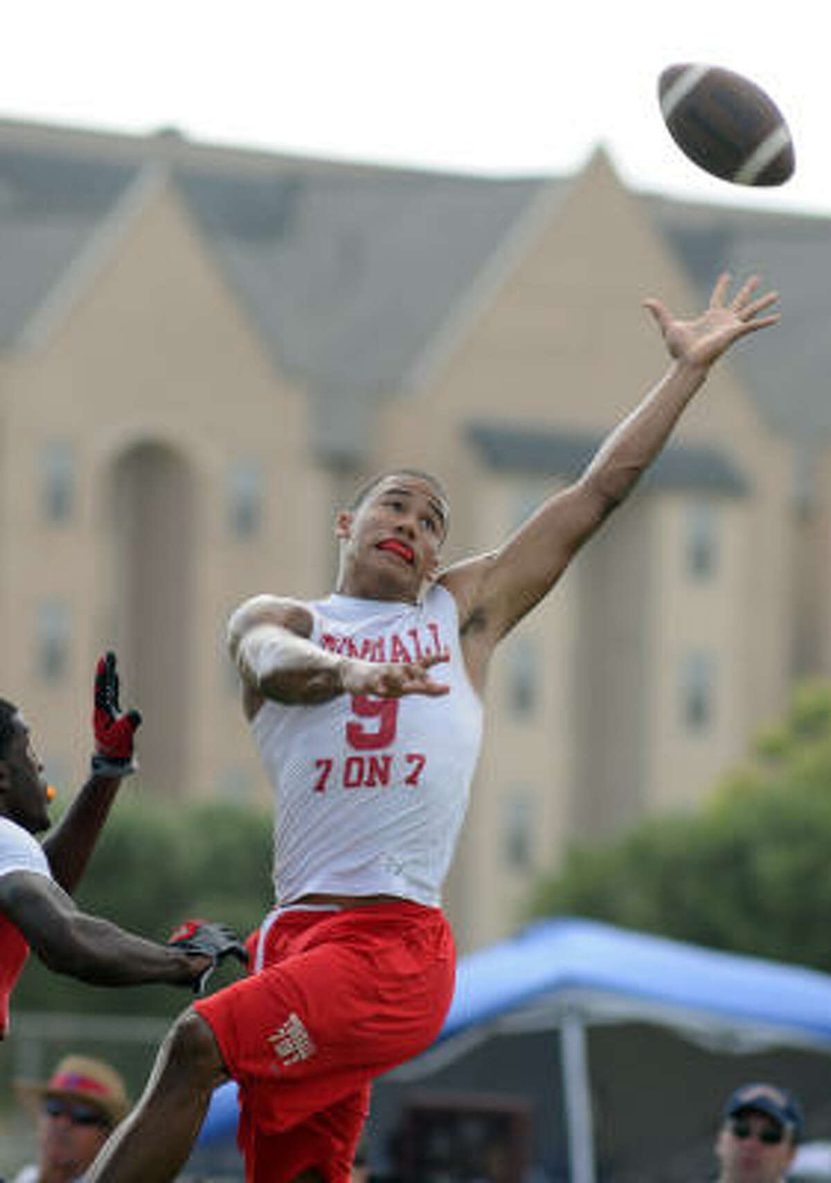 Tomball receiver Jordan Leslie, who also plays basketball, has seven Division I scholarship offers in football.