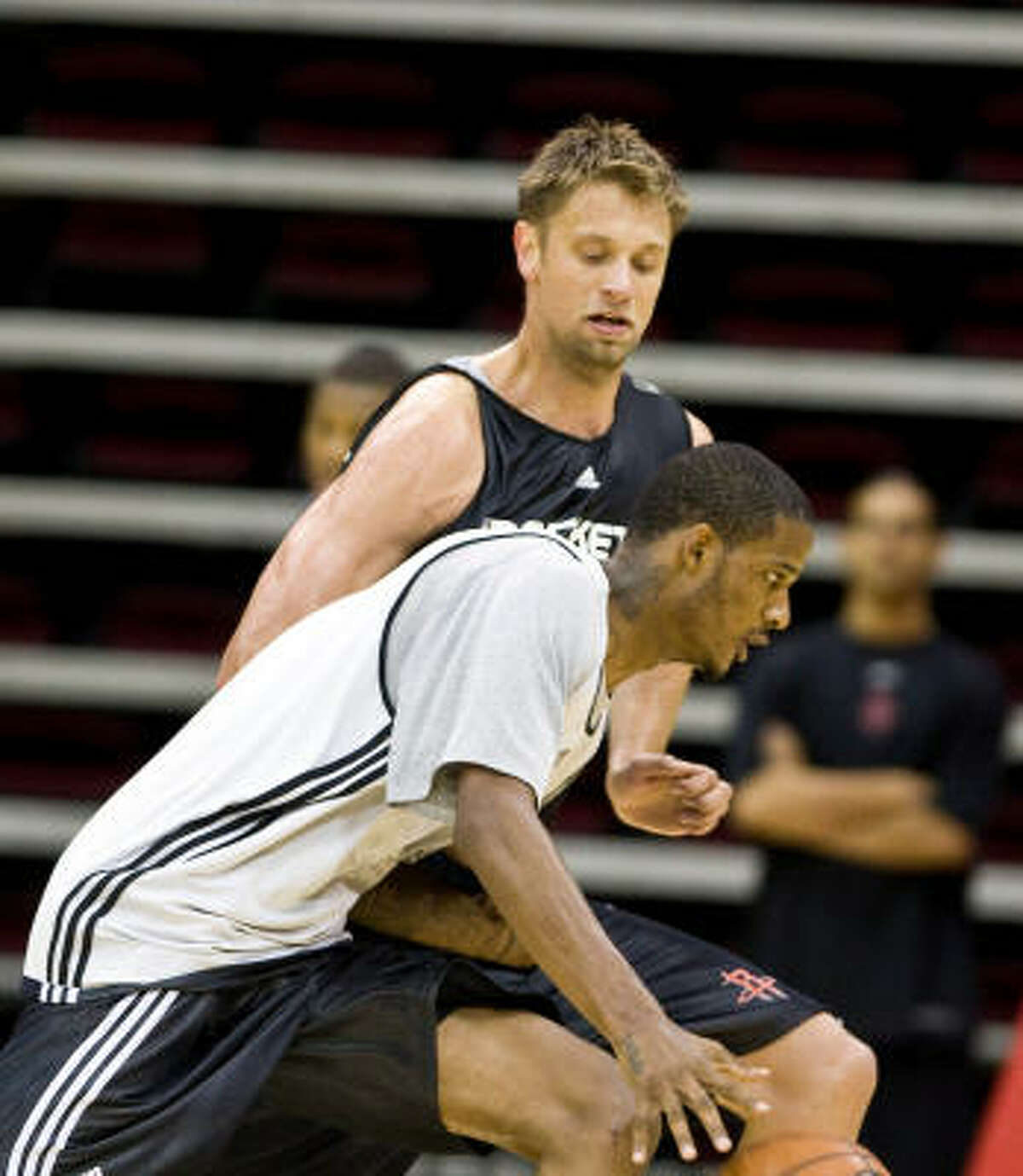"""""""They were one of the best in the league,"""" Trevor Ariza (front) said of the Rockets defense he faced with the Lakers."""